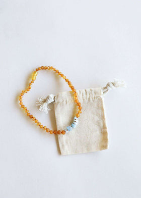 CanyonLeaf Raw Amber + Amazonite  Howlite | Children's Necklace