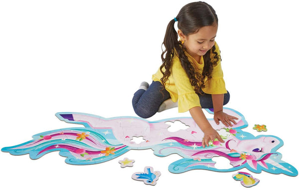 Peaceable Kingdom ~ Shimmery Unicorn Floor Puzzle