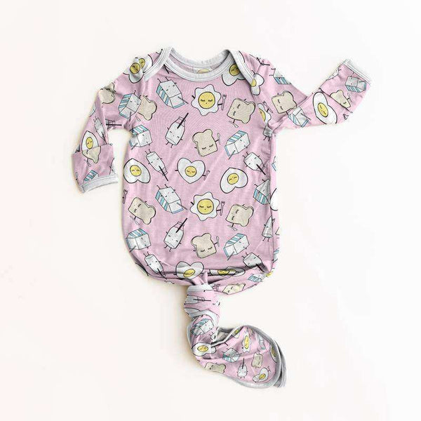 Little Sleepies - Pink Breakfast Buddies Bamboo Viscose Infant Knotted Gown