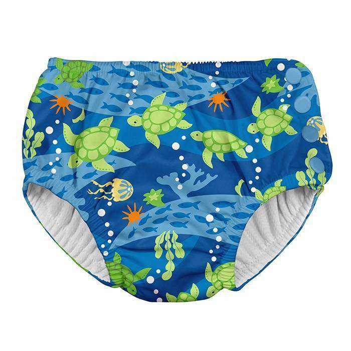 I Play | Snap Reusable Swim Diaper ~ Royal Blue Turtle
