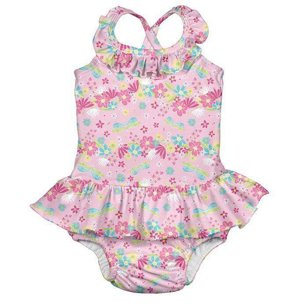 I Play | One Piece Ruffle Swimsuit ~ Light Pink Dragonfly Floral