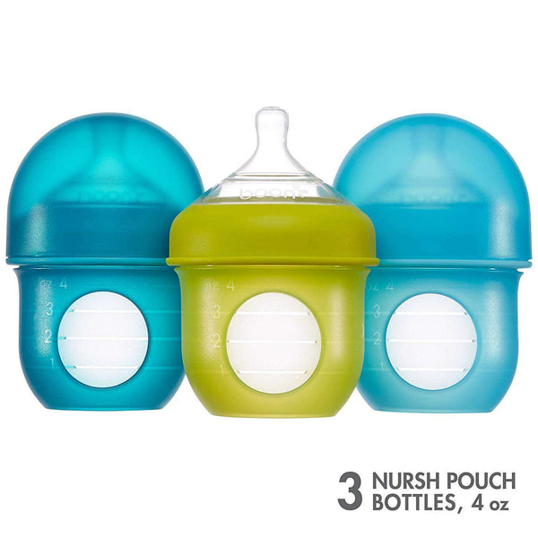 Boon | NURSH SILICONE POUCH BOTTLE - 3 PACK Blue