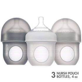 Boon | NURSH SILICONE POUCH BOTTLE - 3 PACK Clear