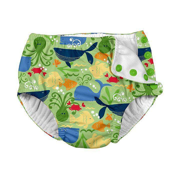 I Play | Snap Reusable Swim Diaper ~ Lime Sealife