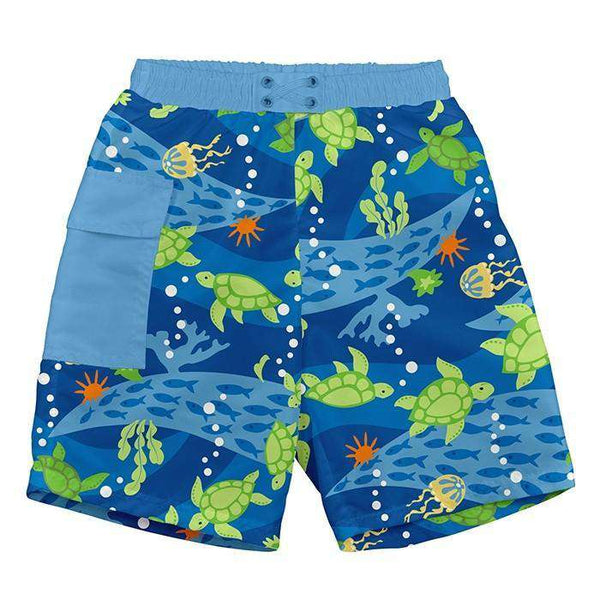 I Play | Pocket Trunks With Built-In Reusable Absorbent Swim Diaper ~ Turtle Journey