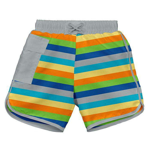 I Play | Pocket Trunks With Built-In Reusable Absorbent Swim Diaper ~ Gray Multi Stripe