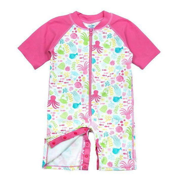 I Play | One Piece Zip Sunsuit ~ White Sea Pals