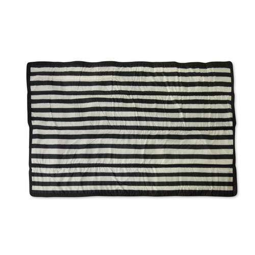 Little Unicorn | Outdoor Blanket ~ Black & White Stripe 5x7