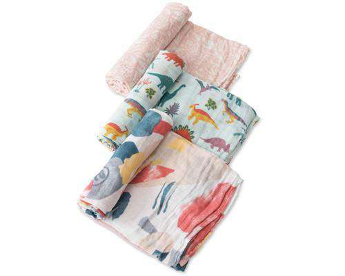 Little Unicorn + Jurassic World | Cotton Muslin Swaddle 3 Pack ~ Embroidosaurus