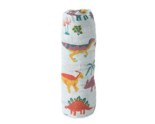 Little Unicorn + Jurassic World | Cotton Muslin Swaddle Single - Embroidosaurus
