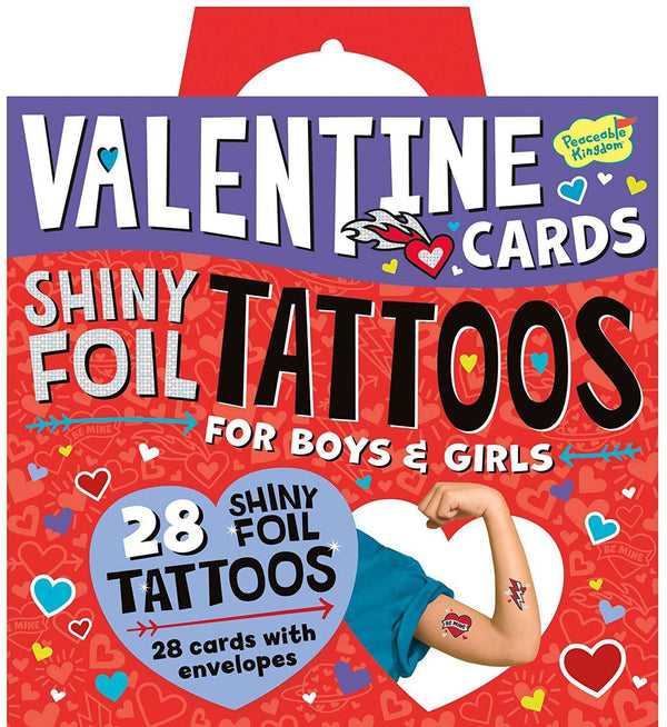 Peaceable Kingdom | Valentine Cards ~ Shiny Foil Tattoos