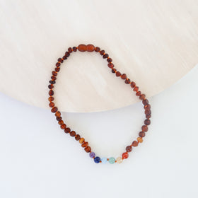 CanyonLeaf Raw Cognac Amber + Round Chakra Crystals Necklace