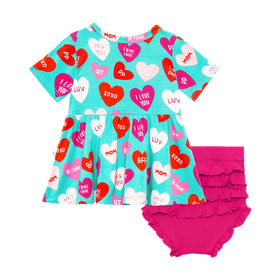 Posh Peanut | Short Sleeve Peplum Top & Bummies Set ~ Valerie