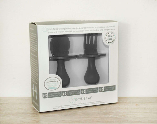 Grabease | First Self Feeding Utensil Set ~ Gray