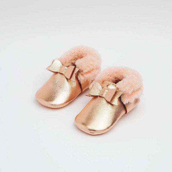 Freshly Picked | Shearling Bow Mocc Mini Sole ~ Rose Gold with Pink