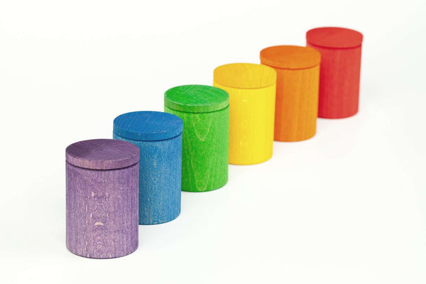 Grapat | Colored Wooden Sorting Cups with Lids