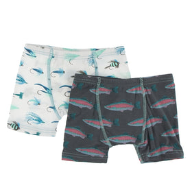 Kickee Pants Boy's Boxer Briefs (Set of 2) |  Natural Fishing Flies & Stone Rainbow Trout