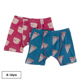 Kickee Pants Boy's Boxer Briefs (Set of 2) | Seaport Pizza Slices & Cherry Pie Takeout