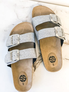 Simply Southern Sandals ~ Silver Glitter