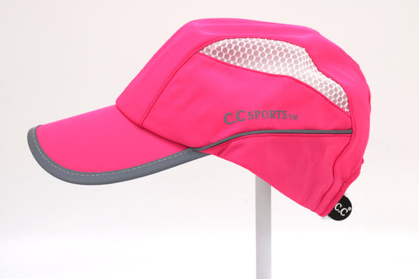 CC Beanie | Reflective Mesh Sport High Pony Hat ~ Hot Pink