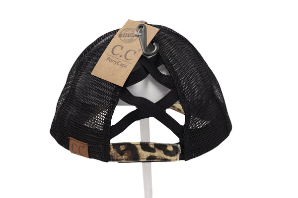 CC Beanie | WASHED DENIM CRISS CROSS HIGH PONY ~ Black / Leopard