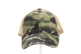 CC Beanie | DISTRESSED CAMOUFLAGE CRISS-CROSS High Pony Hat ~ Olive Camo