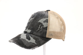 CC Beanie | DISTRESSED CAMOUFLAGE CRISS-CROSS High Pony Hat ~ Grey Camo