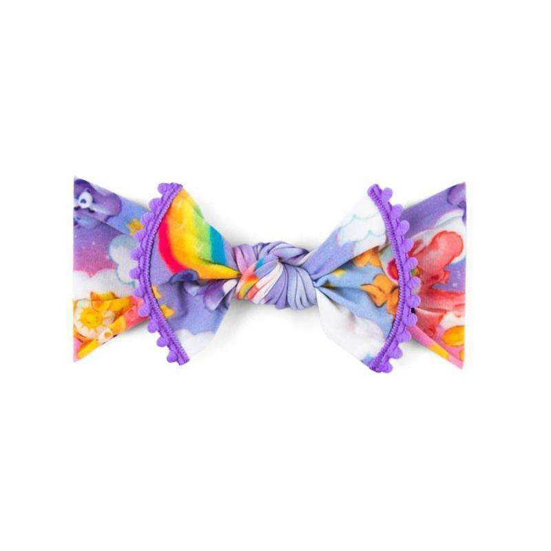 Baby Bling Bows | Care Bears Collection ~Trimmed Printed Knot Lilac Rainbow
