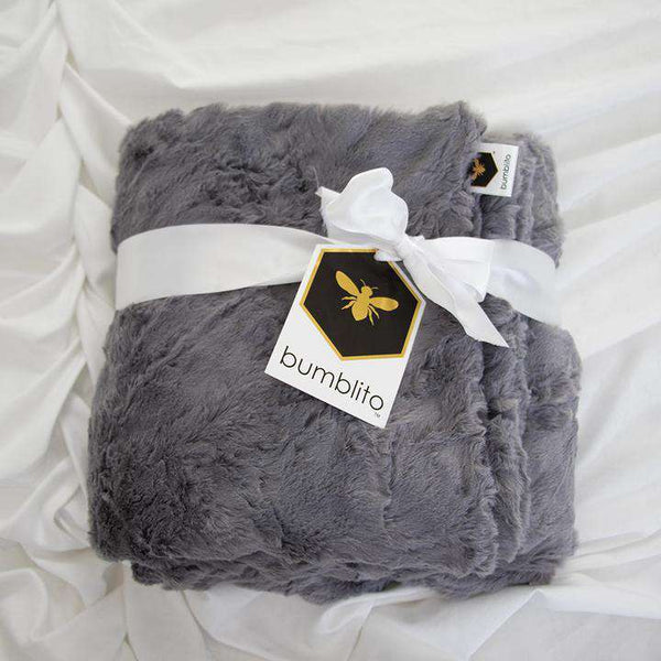 Bumblito | Baby Bee Luxe Blanket Plush ~ Graphite