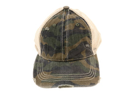 CC Beanie | Camo Mesh Back High Pony Hat ~ Olive