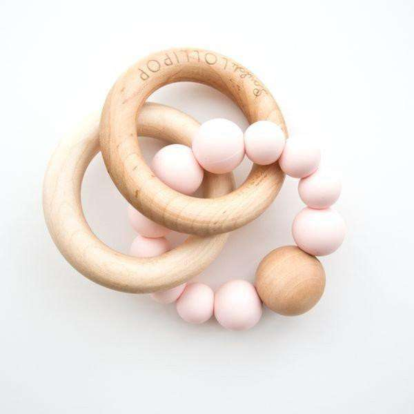 Loulou Lollipop | RATTLE Bubble Silicone Wood Teether ~ Pink Quartz