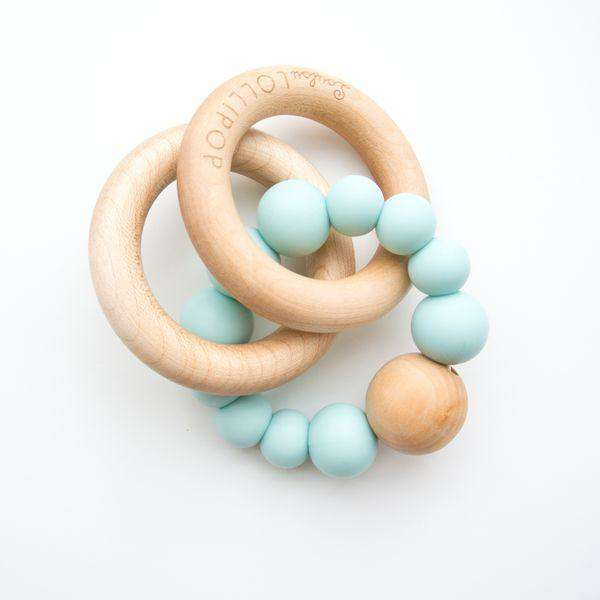 Loulou Lollipop | RATTLE Bubble Silicone Wood Teether ~ Robin's Egg Blue