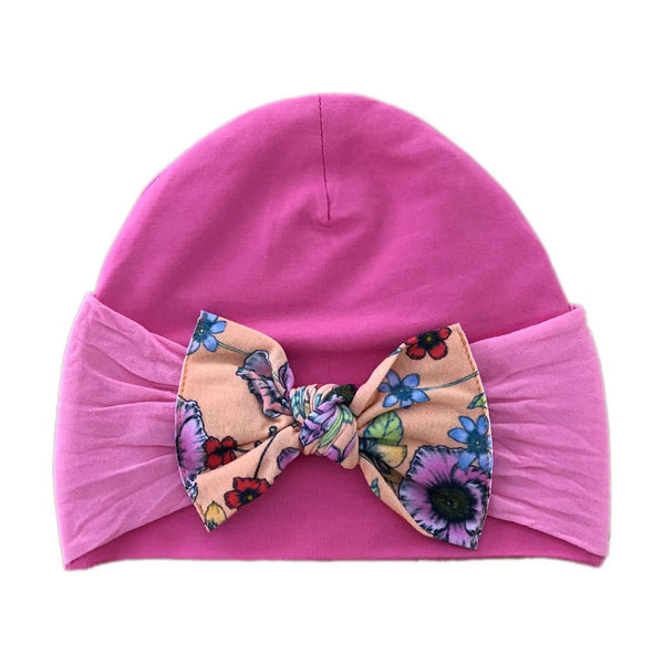 Baby Bling Bows | Knot Bow Beanie ~ Bubblegum Floral