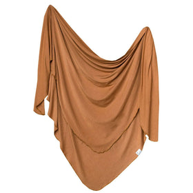 Copper Pearl |  Knit Swaddle Blanket ~ Camel