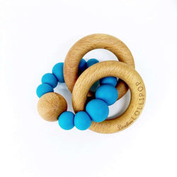 Loulou Lollipop | RATTLE Bubble Silicone Wood Teether ~ Cerulean Blue