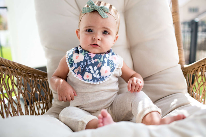 Copper Pearl | Fashion Trimmed Bibs 2 Pack ~ Floral Set