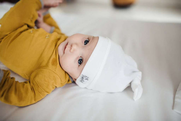 Copper Pearl | Newborn Top Knot Hat ~ Dove