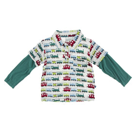 Kickee Pants Print Long Sleeve Double Layer Polo | Natural Toy Train