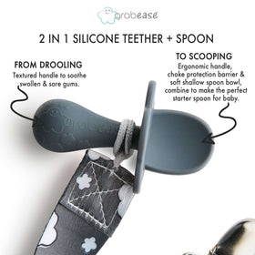 Grabease 2 in 1 Silicone Teether Spoon - Gray