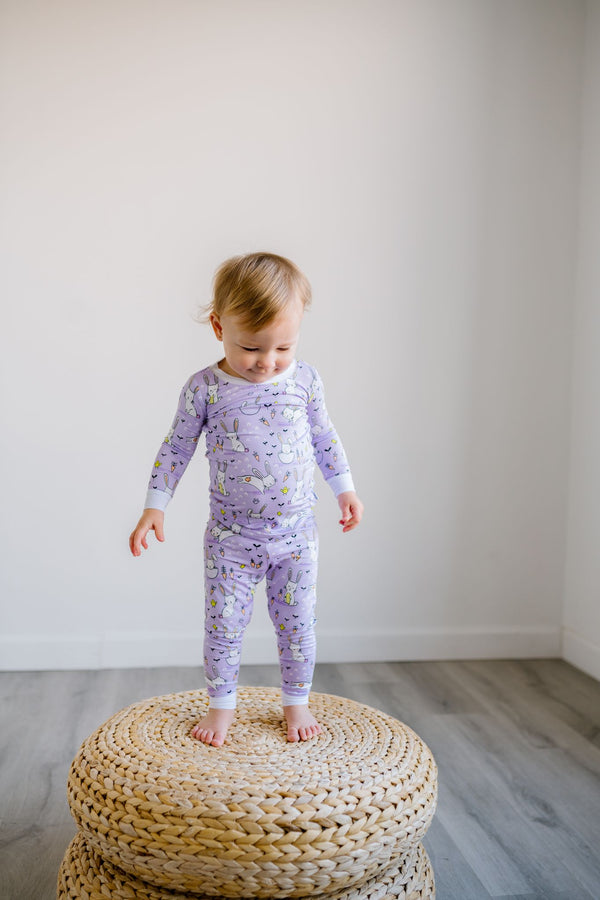 Little Sleepies - Lavender Bunnies Bamboo Viscose Two-Piece Pajama Set