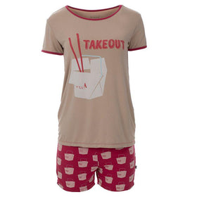 Kickee Pants Women's Short Sleeve Graphic Tee Fitted Pajama Set with Shorts ~ Cherry Pie Takeout