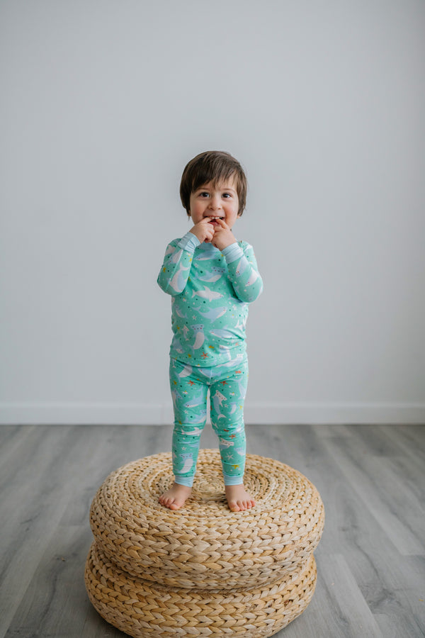 Little Sleepies - Sharks Soiree Bamboo Viscose Two-Piece Pajama Set