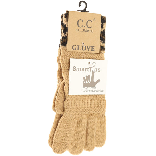 CC Beanie | Adult Solid Cable Knit Leopard Cuff Gloves ~ Camel