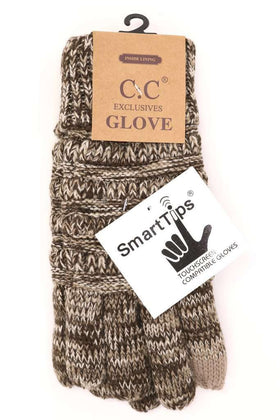 CC Beanie | Adult Multi Color Lined Gloves ~ Brown