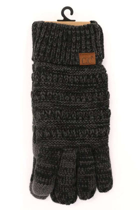 CC Beanie | Adult Multi Color Lined Gloves ~ Black