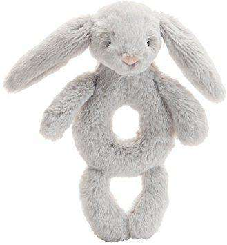 Jellycat Bashful Grey Bunny Ring Rattle