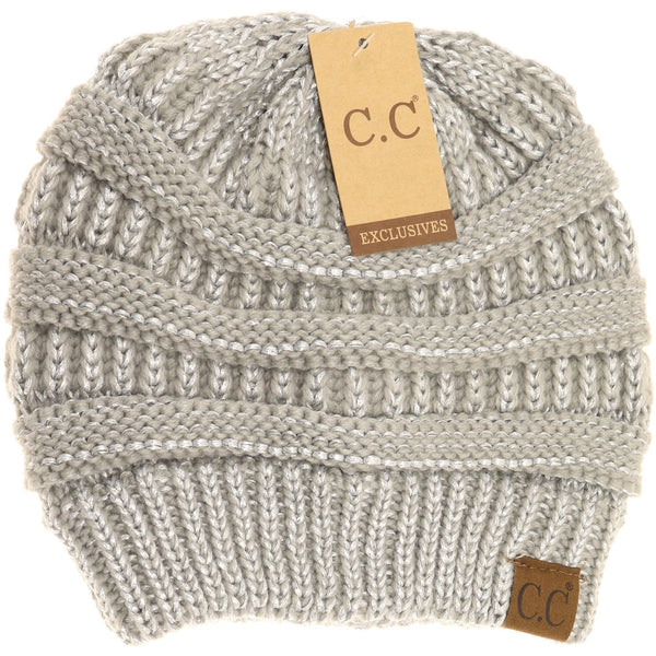 CC Beanie | Adult Solid Metallic ~ Silver