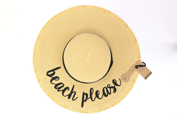 CC Beanie | Embroidered Distressed Floppy Sun Hat ~ Beach Please