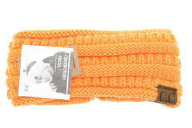CC Beanie | Adult Solid Ribbed Ponytail Head Wrap ~ Neon Orange
