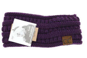 CC Beanie | Adult Solid Ribbed Ponytail Head Wrap ~ Purple